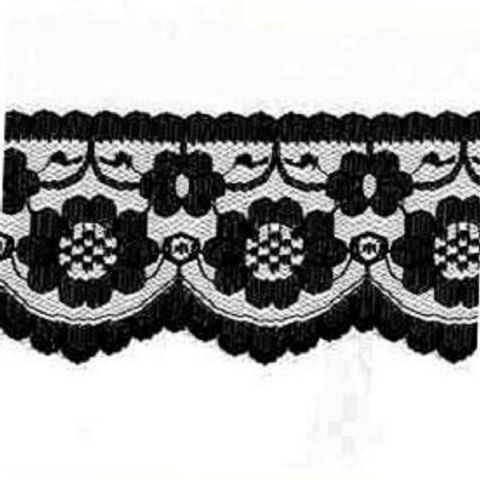 "5 METRES Quality flat Black Lace Trimming  70 mm 2.1"" Trim Craft Scalloped Edge"